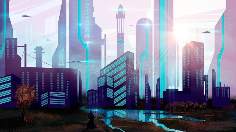Tovenaar in stad sc.i-FI met ruimteschip en meer, digitale paintin stock illustratie