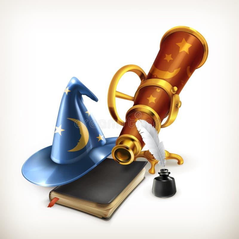 Tovenaarhoed en telescoop stock illustratie