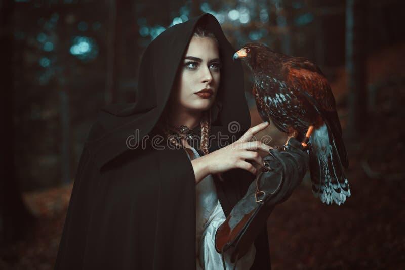 Tovenaarvrouw met havikshuisvriend royalty-vrije stock afbeelding