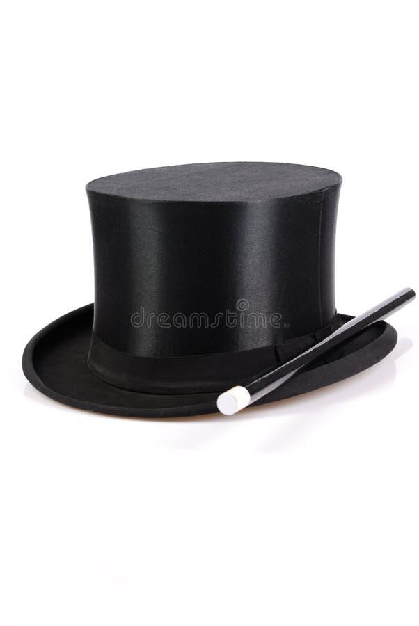 Toverstokje en hoed stock afbeeldingen