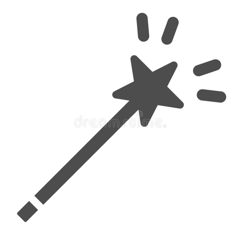 Toverstokje stevig pictogram Ster op stok vectordieillustratie op wit wordt geïsoleerd Het ontwerp van de mirakel glyph stijl, vo vector illustratie