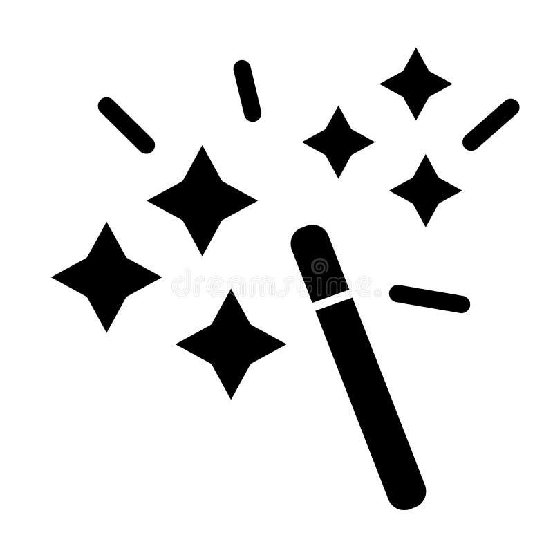 Toverstokje stevig pictogram Werktijd vectordieillustratie op wit wordt geïsoleerd Het ontwerp van de mirakel glyph stijl, voor W vector illustratie