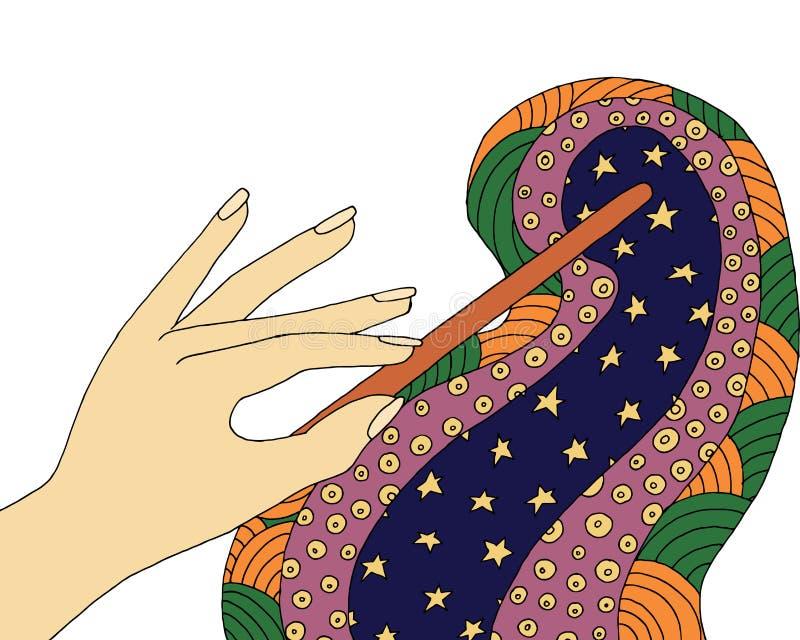 Toverstokje zentangle Fantasie zendoodle Vectortovenaars zen verwarring en krabbel Fee kleurend boek Ster en nacht royalty-vrije illustratie