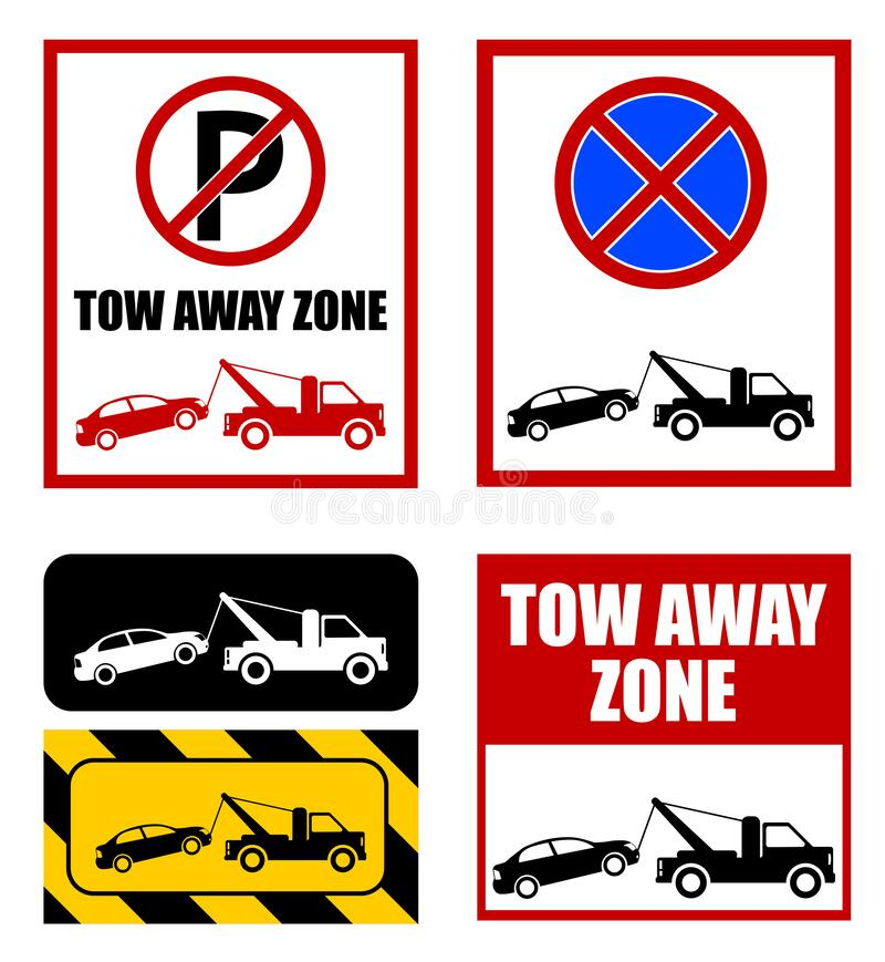 Free Tow Away Zone, No Parking Sign Royalty Free Stock Images - 195702249