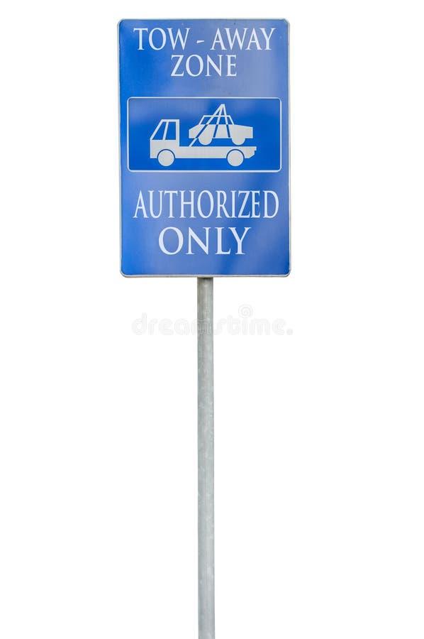 Tow Away Zone Sign azul com autorizado isolado somente no branco fotos de stock