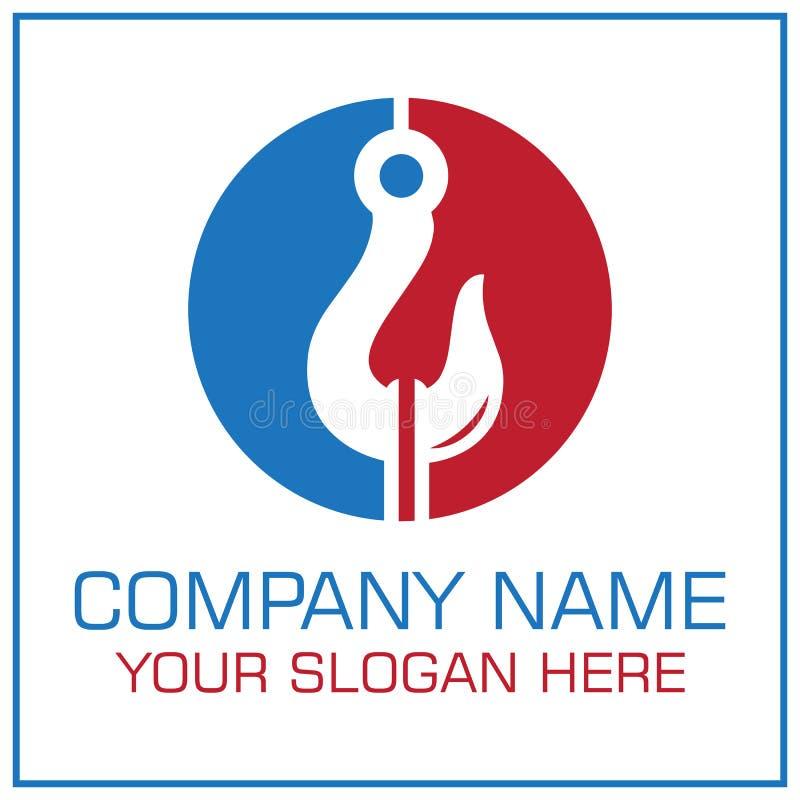 Tow Hook Vector Logo för att bogsera det tjänste- företaget stock illustrationer
