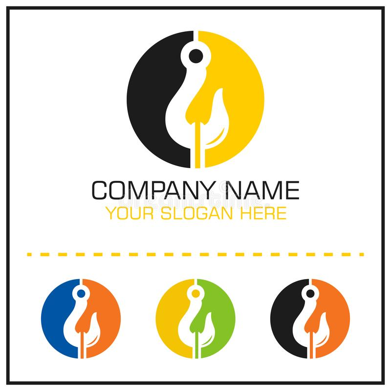 Tow Hook Vector Logo för att bogsera det tjänste- företaget royaltyfri illustrationer