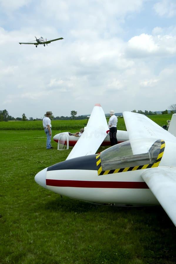 Tow Plane Landing stock image