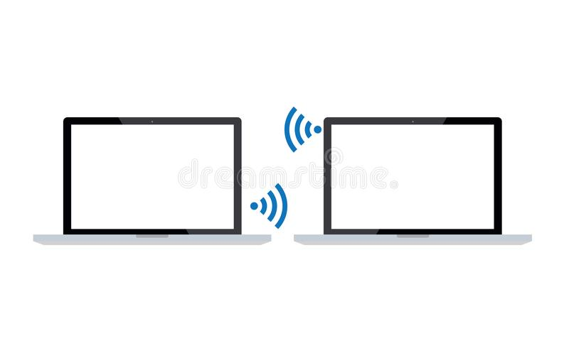 Tow Realistic Laptops Connected By Wi-Fi radio stock illustrationer