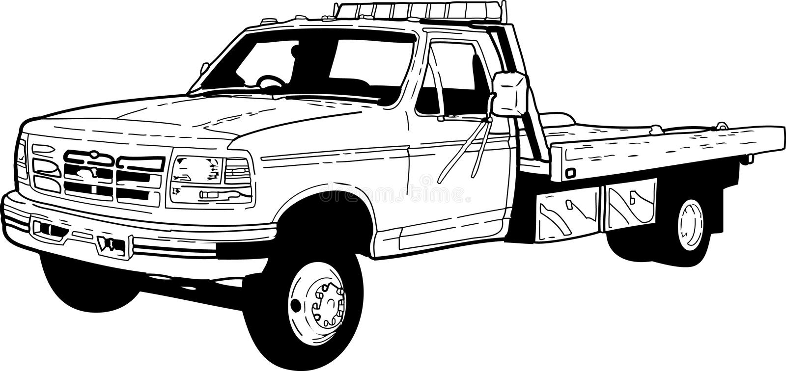 TOW TRUCK. PICKUP TOW TRUCK WITH FLAT BED 1 COLOR ILLUSTRATION