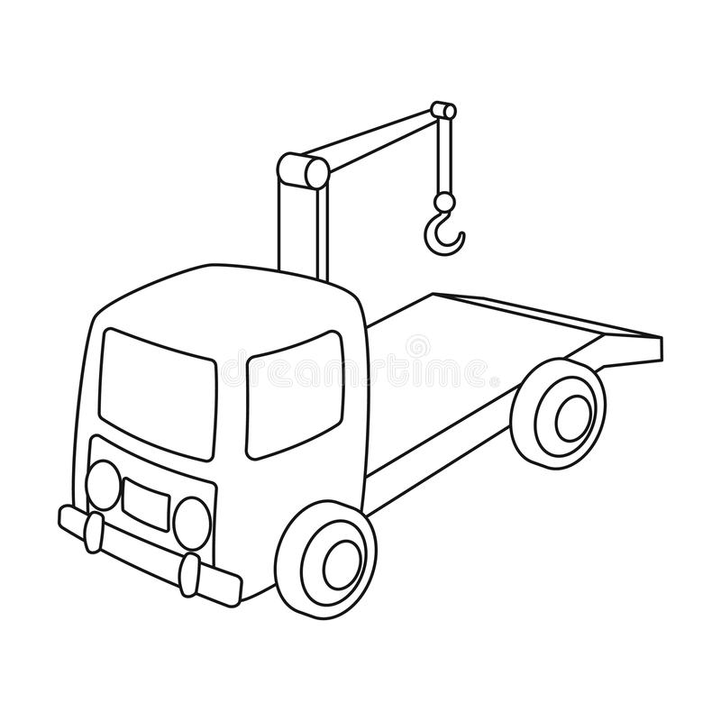 Tow Truck Icon In Outline Style Isolated On White Background