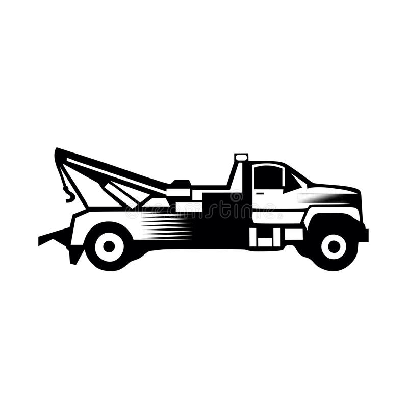 Tow truck icon vector filled flat sign solid pictogram isolated. On white.eps8,ep10 stock illustration