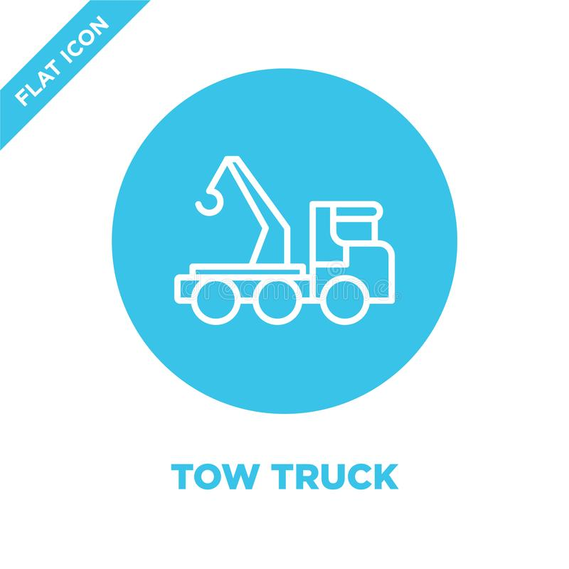 Tow truck icon vector. Thin line tow truck outline icon vector illustration.tow truck symbol for use on web and mobile apps, logo. Print media stock illustration