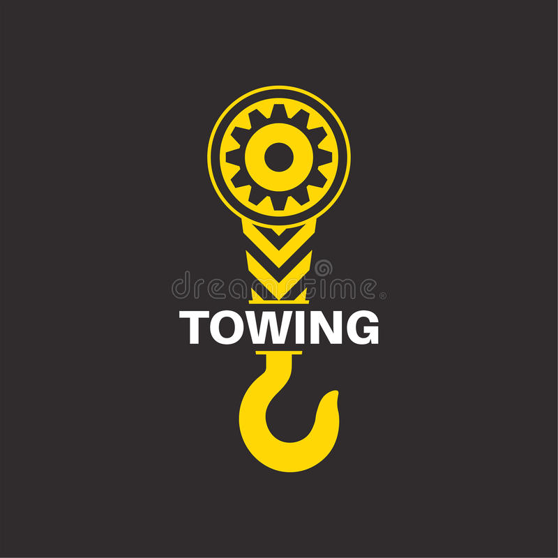 Tow truck icon. Wrecker logotip. Towing hook. Round the clock evacuation of cars. Winch. Design can be used as a logo, a poster, advertising, singboard. Vector royalty free illustration