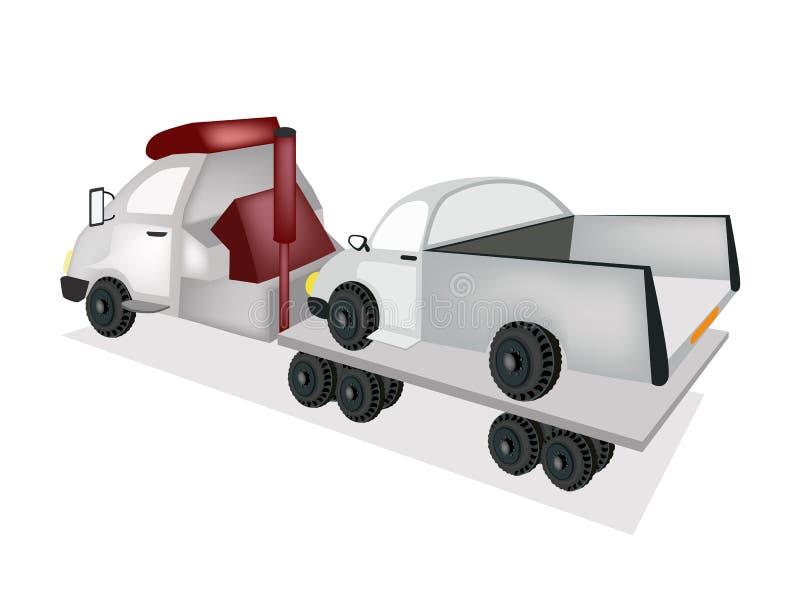 Tow Truck Loading um carro após um acidente ilustração stock