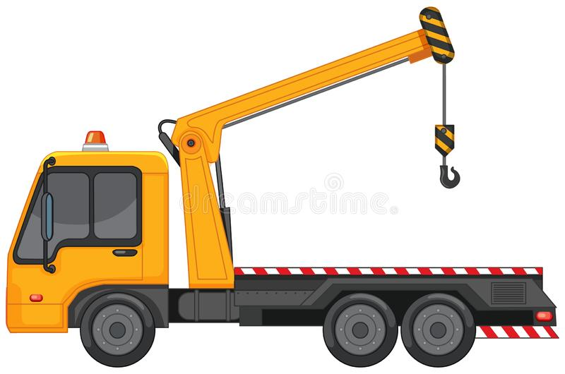 Tow truck with metal hook on white background. Illustration vector illustration