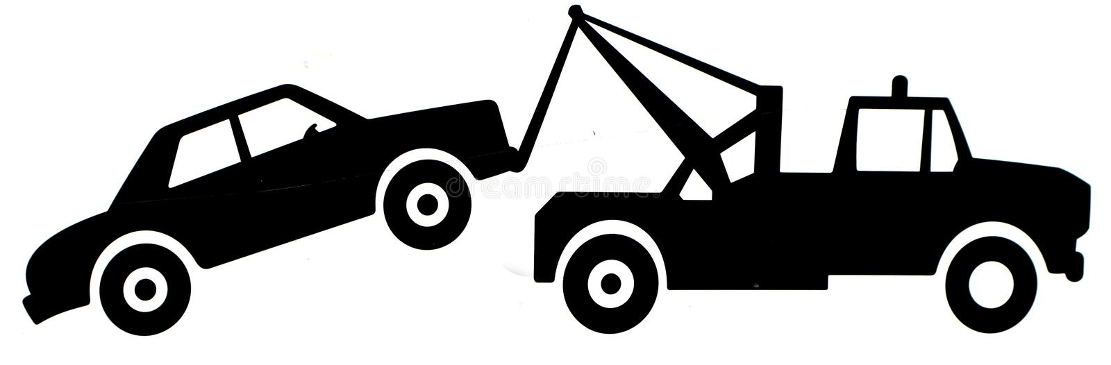 Tow truck sign. Silhouetted illustration of tow truck towing motor vehicle, isolated on white background