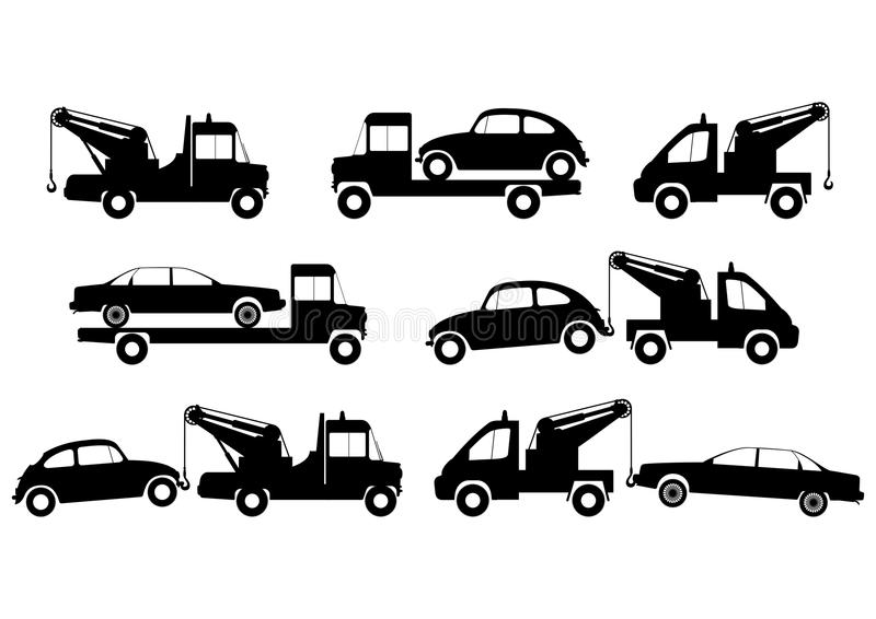tow truck silhouettes stock vector  illustration of