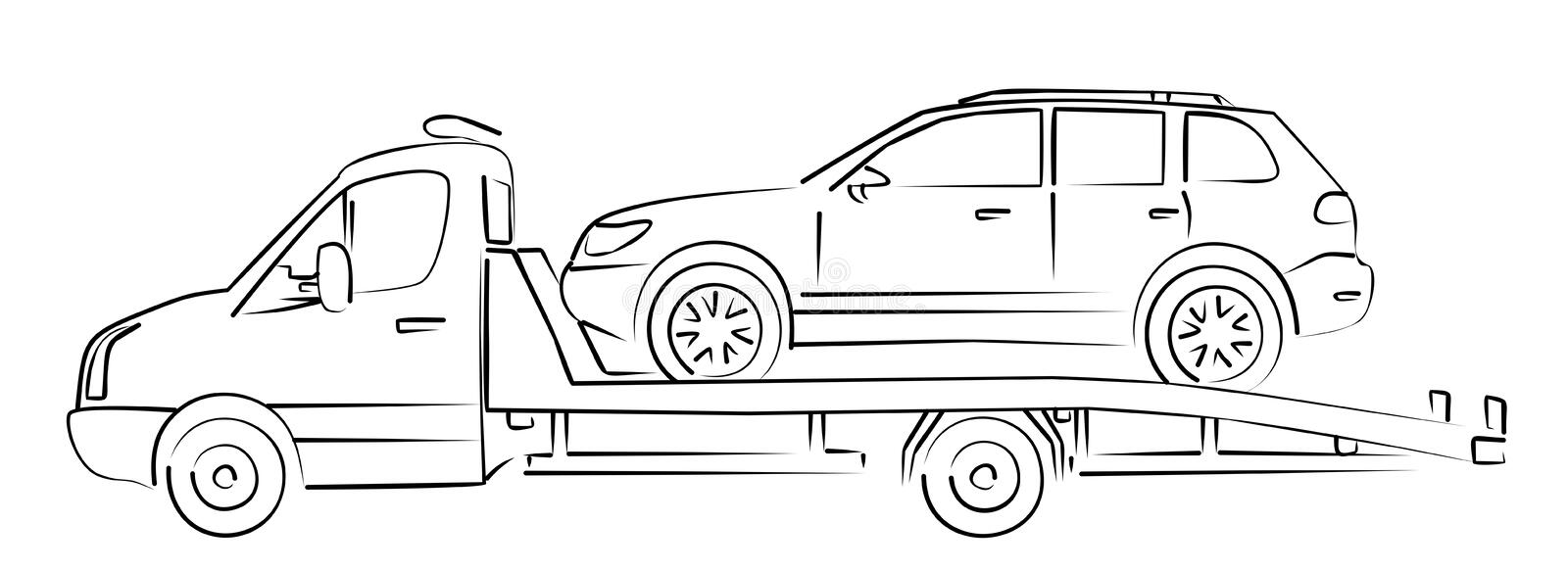 Tow truck Sketch. stock illustration