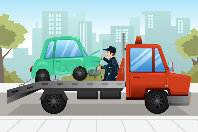 Tow truck towing a broken down car stock illustration