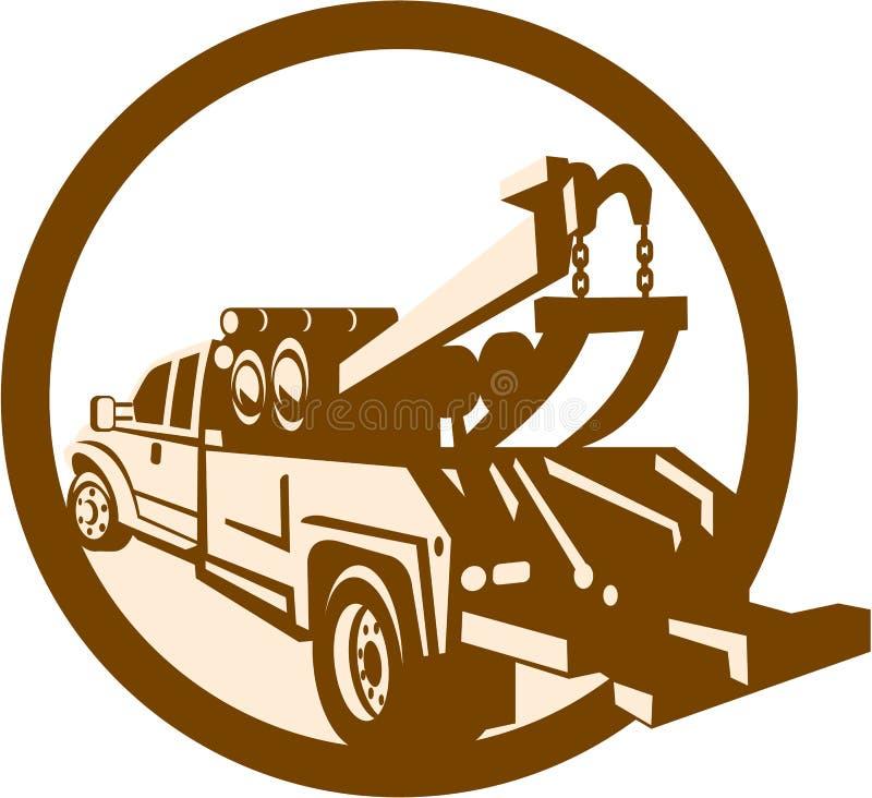 Tow Truck Wrecker Rear Retro royalty illustrazione gratis