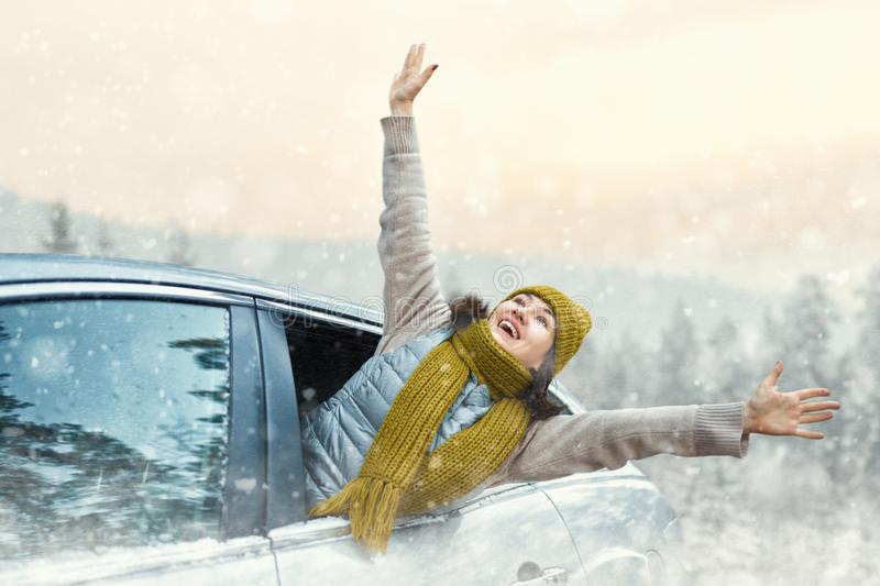 Woman is relaxing and enjoying road trip royalty free stock photography