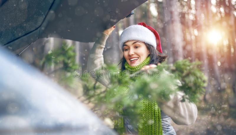 Woman is relaxing and enjoying road trip royalty free stock photo