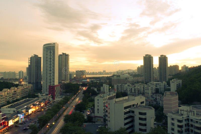 Toward evening city in Zhuhai, China royalty free stock image
