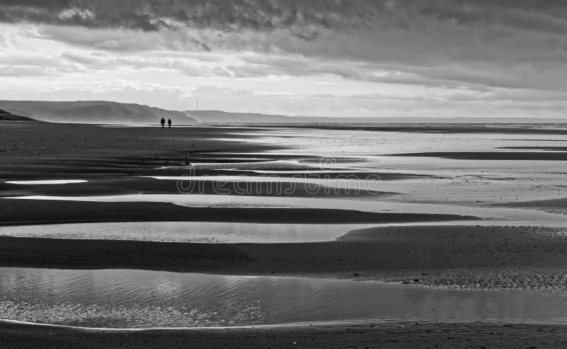 Towards Borth in Monochrome. View at Ynyslas towards Borth, Ceredigion, Wales royalty free stock image
