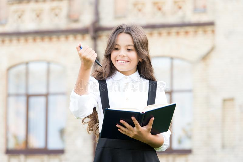Towards knowledge. Students life. School student. Intelligent child. Intellectual task. Cognitive process. Start new. School project. Welcome back to school stock photo