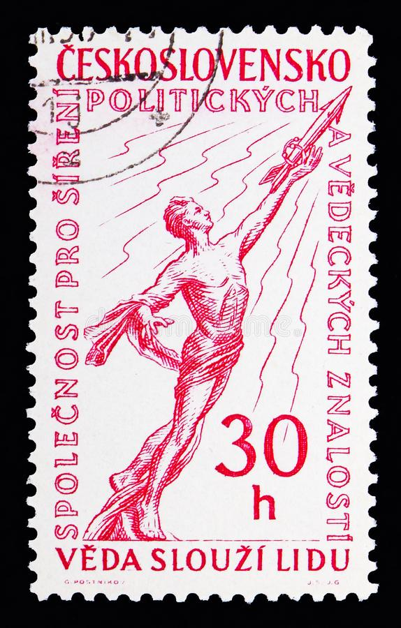 Towards the Stars, International Political Event serie, circa 1958. MOSCOW, RUSSIA - MAY 13, 2018: A stamp printed in Czechoslovakia shows Towards the Stars stock photos
