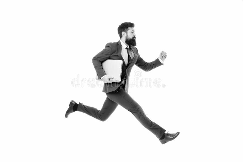 Towards success. Inspiring innovations. Businessman inspired guy feel powerful going to change world. Man inspired hold stock image