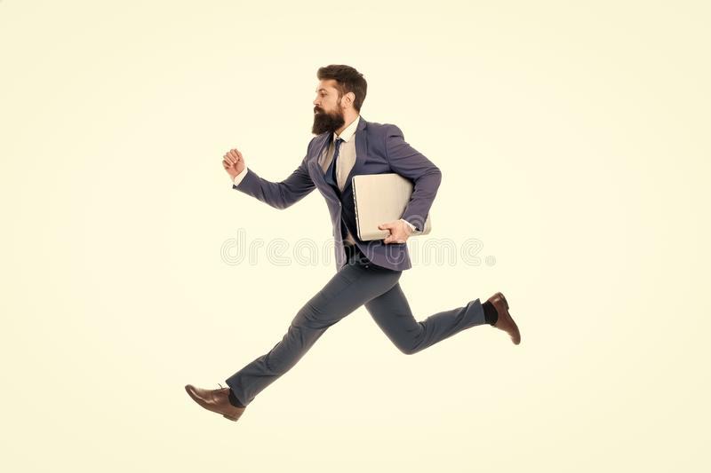 Towards success. Inspiring innovations. Businessman inspired guy feel powerful going to change world. Man inspired hold stock photo