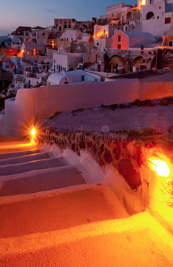 Towards The Village Of Oia Stock Image
