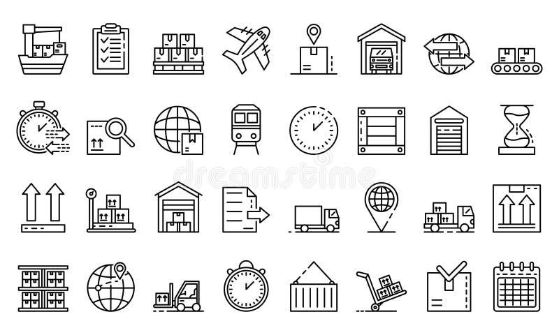 Towary eksportują ikony ustawiać, konturu styl ilustracji