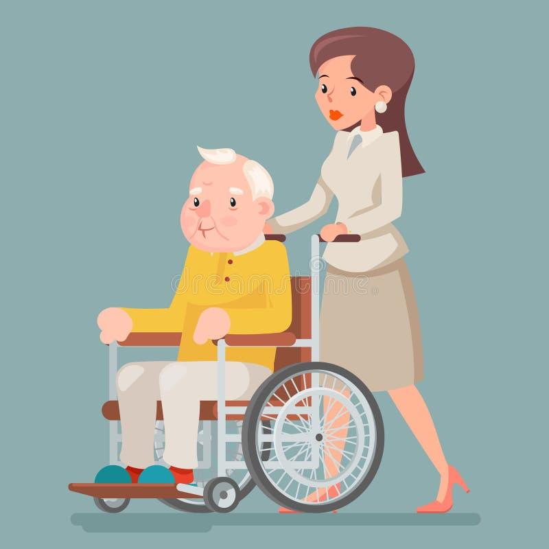Towarzysząca pielęgniarki czułość dla Starszego wózka inwalidzkiego starego człowieka charakteru Siedzi Dorosłą ikony kreskówki p ilustracja wektor