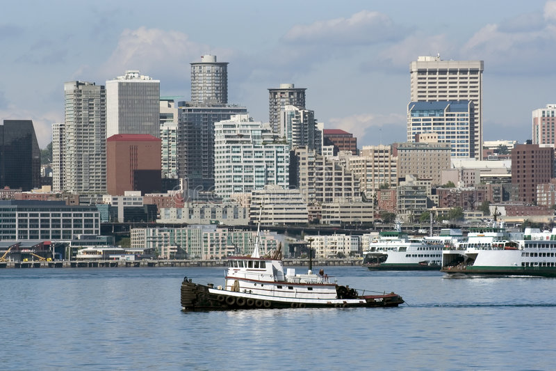 Download Towboat in Seattle stock photo. Image of space, modern - 165208