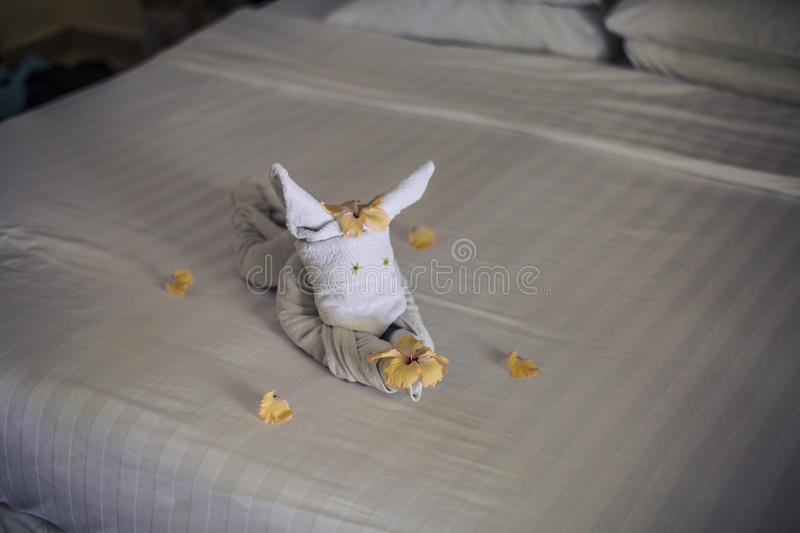 Download Towel Animal On A Hotel Bed Stock Photo - Image of luxury, towel: 75985330
