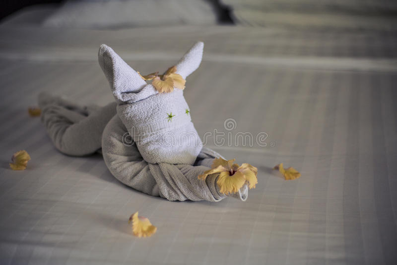 Download Towel Animal On A Hotel Bed Stock Photo - Image of animal, design: 75985358