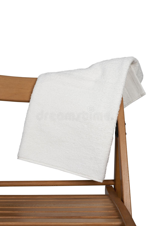 Towel on the back of the chair isolated on white background royalty free stock photo