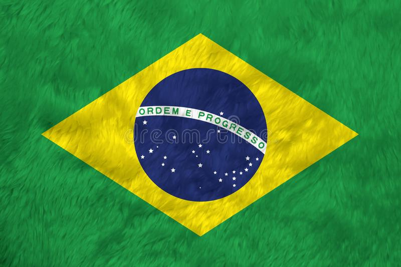 Towel fabric pattern flag of Brazil, green yellow and blue color and world in center royalty free stock image