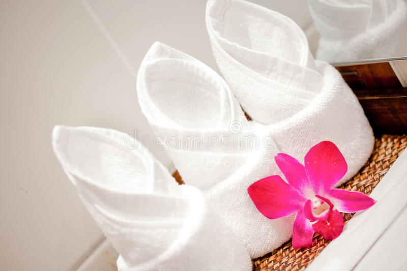 Download Towel With Flower In Spa Concept Stock Photo - Image: 16651156