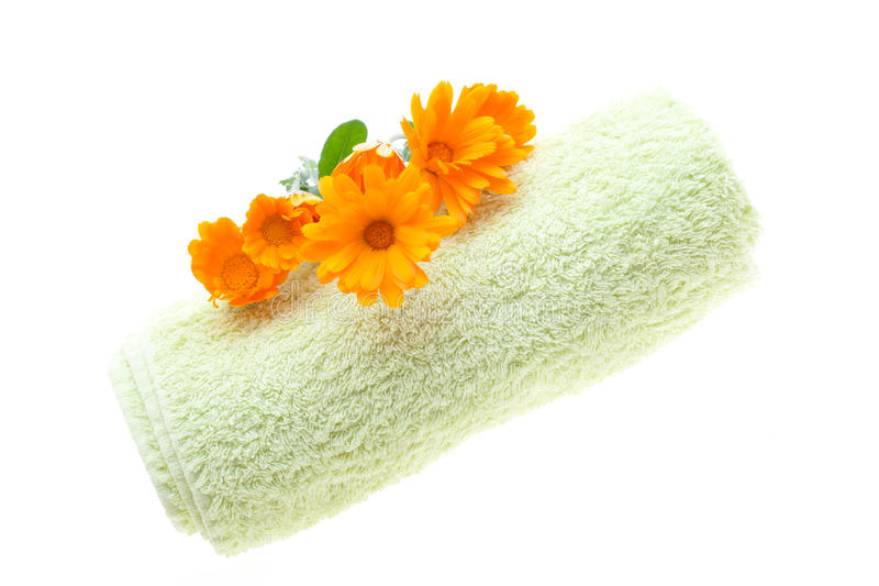 Download Towel And Flowers stock image. Image of freshness, orange - 24105107