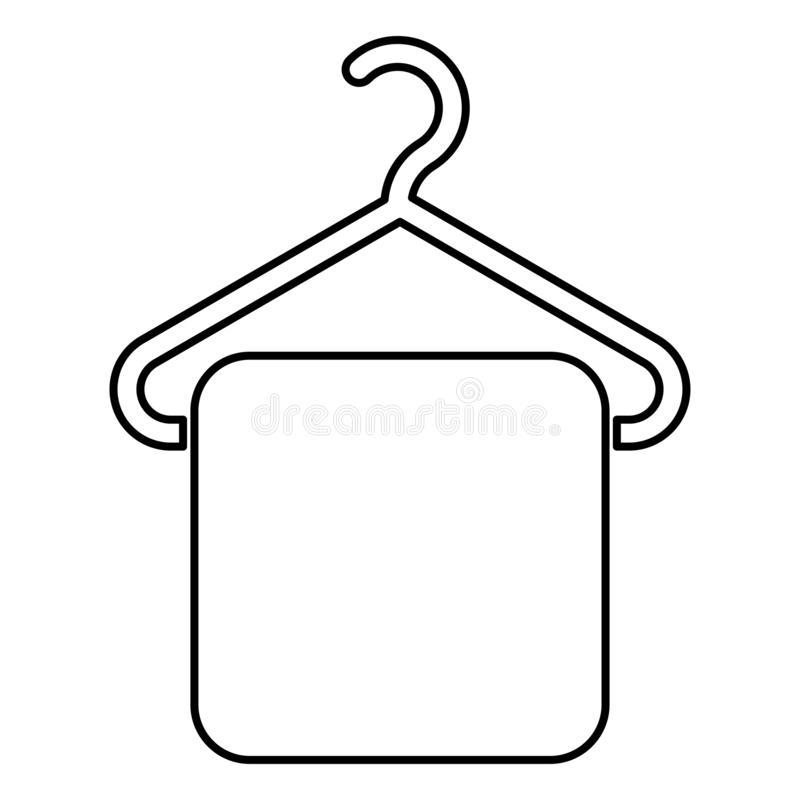 Towel on hanger Hanger towel Clothes hanger with hanging towel icon black color outline vector illustration flat style image vector illustration