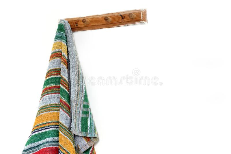 Towel on a hanger. Wooden towel rack.  royalty free stock images