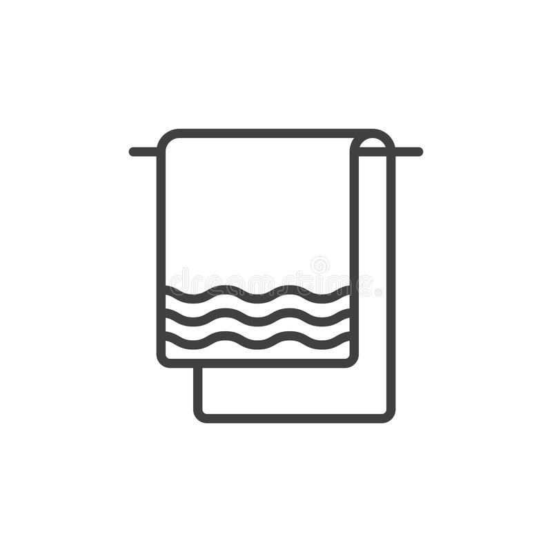 Towel line icon, outline vector sign, linear style pictogram isolated on white. stock illustration