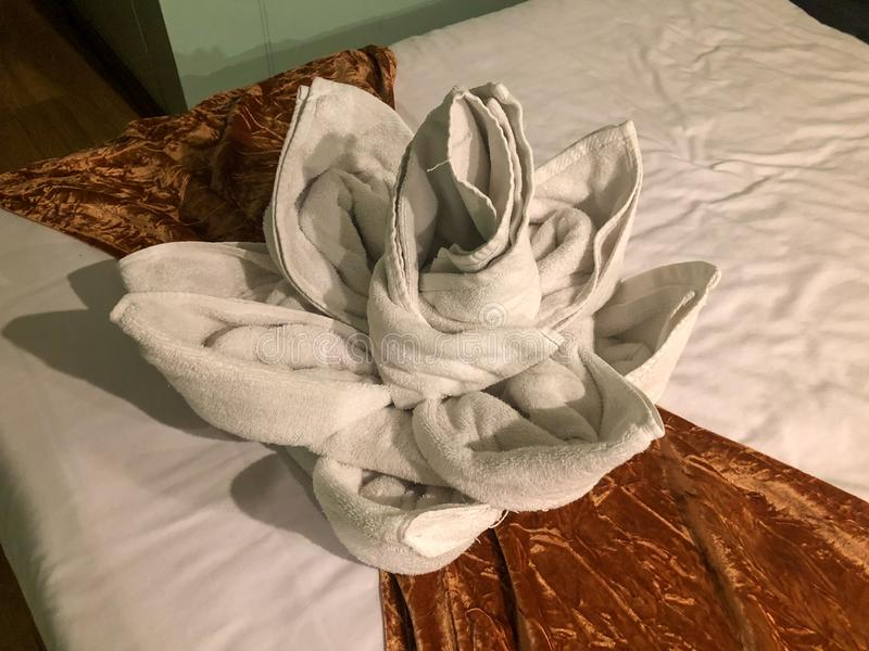 Towel origami beautiful flower royalty free stock photography