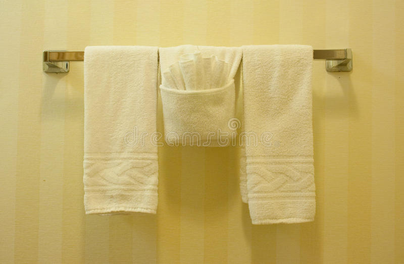 Towel rack. With rag and towels stock images