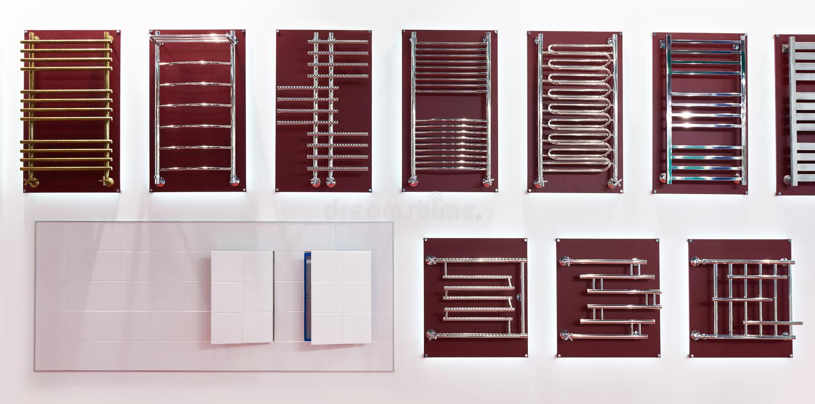 Towel rails for bathroom in shop. Towel rails for the bathroom in the shop window stock images
