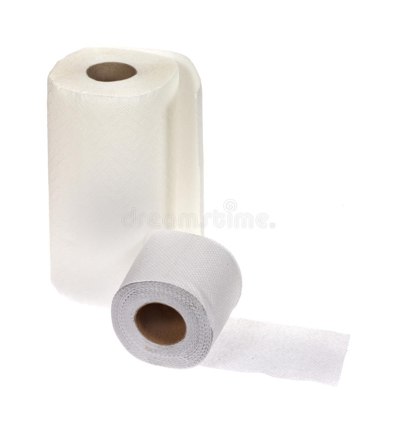 Towel and toilet paper. Photo on white stock photo